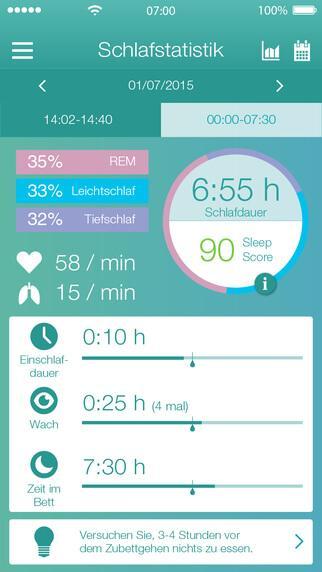 Beurer SleepExpert App für iOS