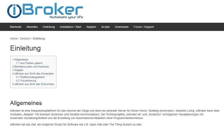 Startseite der IoBroker OpenSource-Plattform