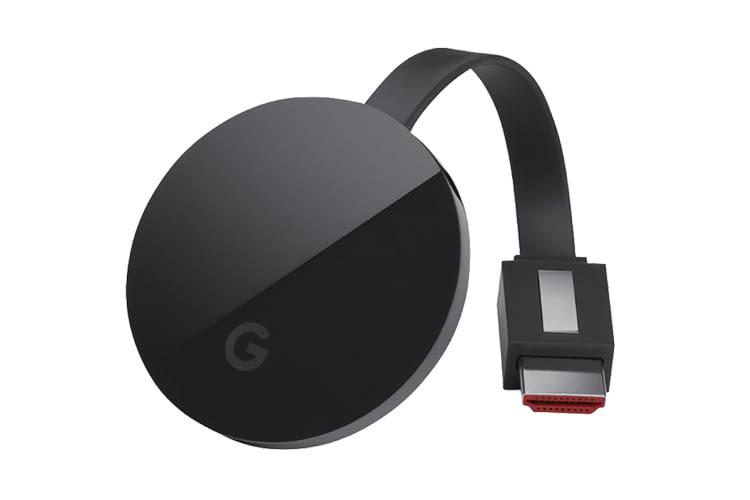 Google Chromecast Ultra hat folgende Anschlüsse: 1x HDMI, 1x Micro-USB, 1x RJ-45 (am Netzteil)