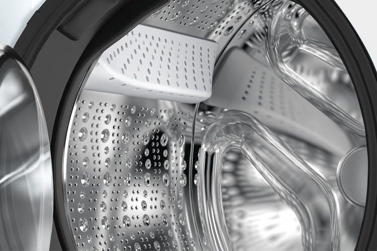 Die Waschtrommel hat ein Fassungsvermögen von 65 Litern