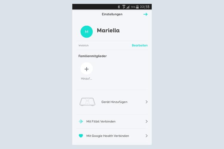 Wer mag, kann noch weitere Gesundheitsgadets mit der Bluetooth-Waage vernetzen