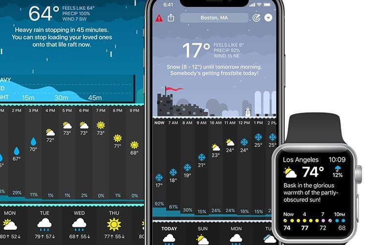 Mit der Carrot Weather Apple TV-App kann man sich auf dem Fernseher das Wetter in hübschen Animationen anzeigen lassen