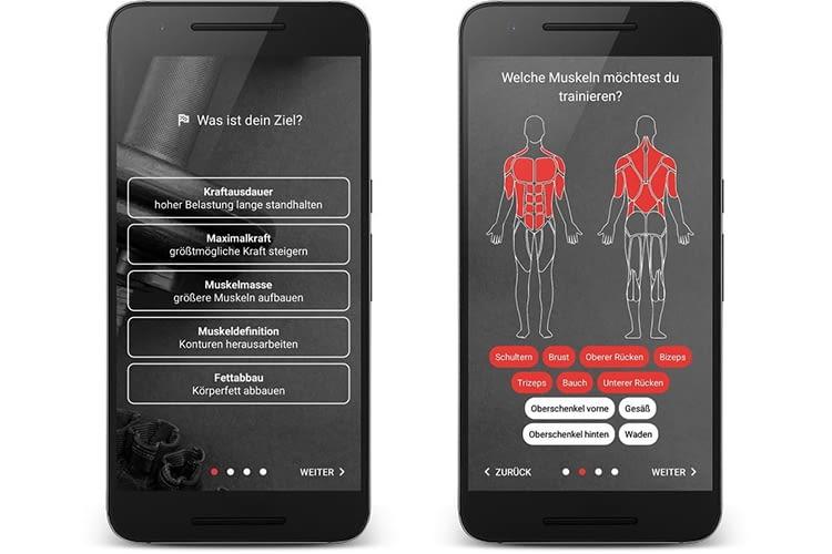 Die BestFit App fragt nach dem Ziel des Trainierenden und welche Muskeln trainiert werden sollen