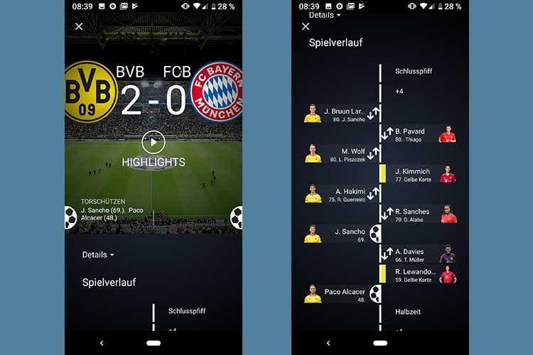 Amazon Fußball live bereitet das Spielgeschehen auch grafisch übersichtlich auf