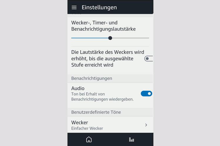 Per App lässt sich die Lautstärke des Alexa Weckers ändern