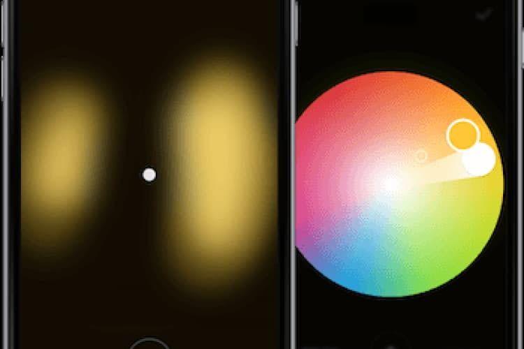Abbildung der FLUXO App zur smarten Steuerung der LED-Lampe
