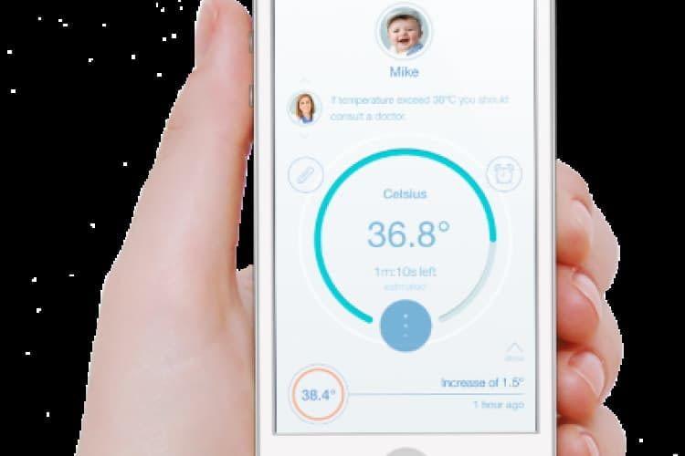 Smartphone Anwendung pacifier App zeigt die Temperatur eines Babys