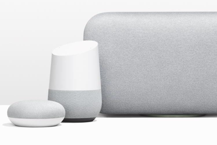 Google Home Mini neben Google Home und Google Max