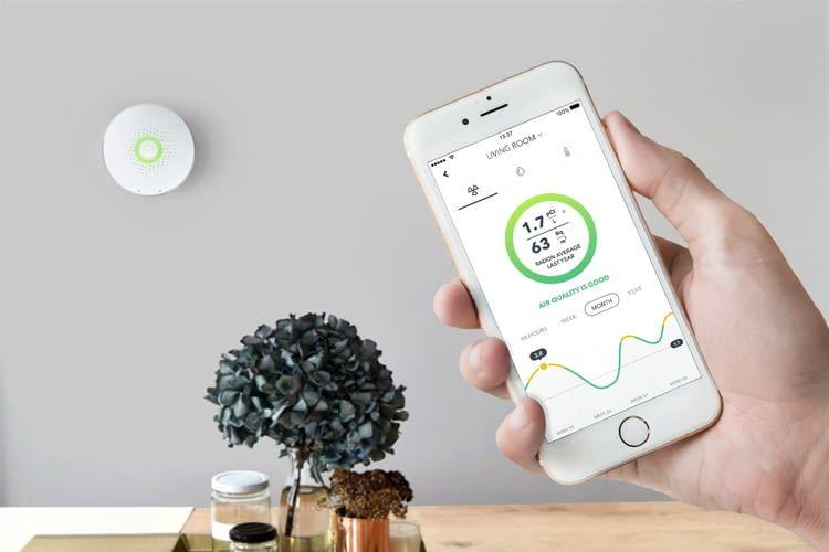 Misst Radon-Intensität, Luftfeuchtigkeit und Luftdruck: Airthings Wave