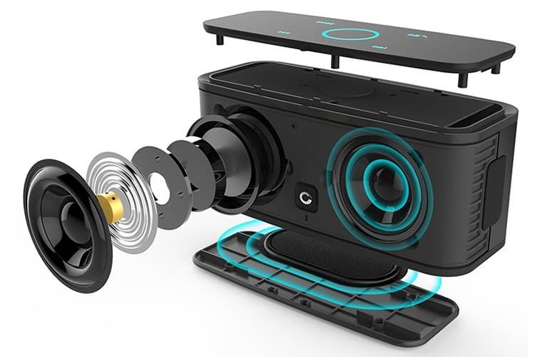 Die tragbare DOSS SoundBox bietet echten Stero-Sound