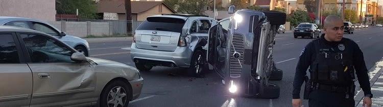 Bild von der Unfallstelle: DasUber- Roboterauto war wohl nicht der Verursacher