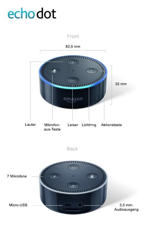Technische Daten des Echo Dot (2. Generation)