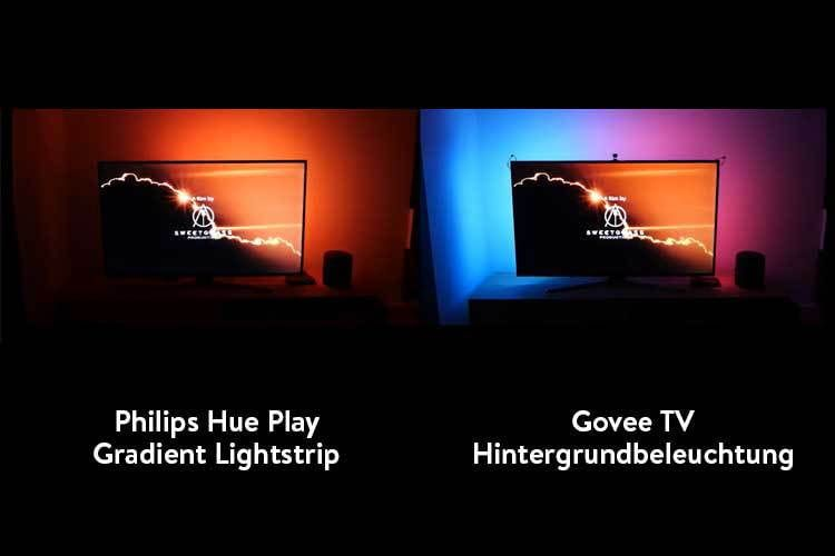 Wir haben die Govee TV-Hintergrundbeleuchtung mit der deutlich teureren Ambilight-Lösung mit Philips Hue verglichen