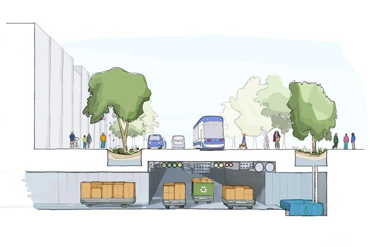 Untergrundtunnel machen Platz für Müllroboter und autonome Industrie-Fahrzeuge