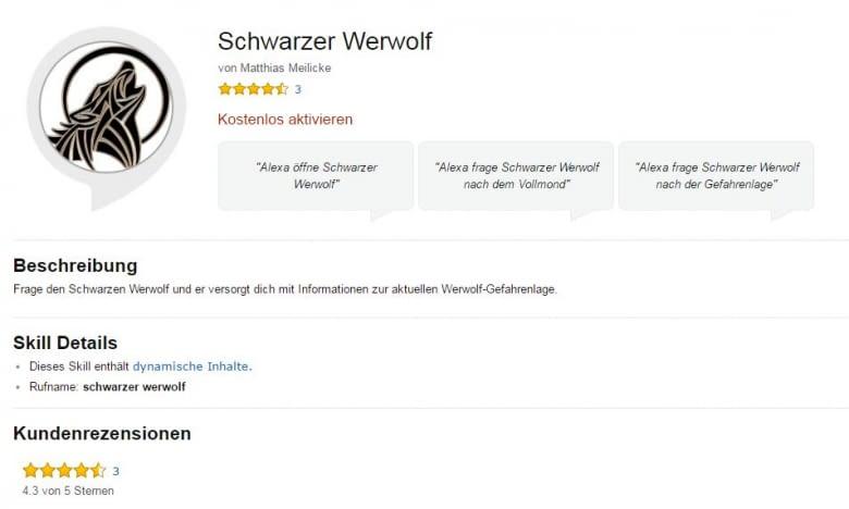 Schwarzer Werwolf Skill für Alexa