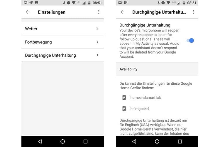 """Die Google-Einstellungen für """"Durchgängige Unterhaltung"""" befinden sich in der Google Home App"""