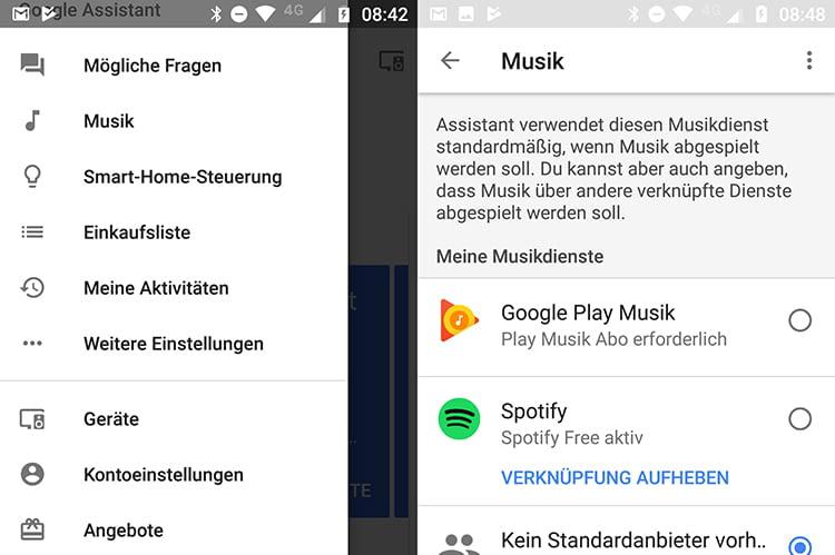 Die in Google Home integrierten Musikdienste können durch einfaches Antippen aktiviert werden