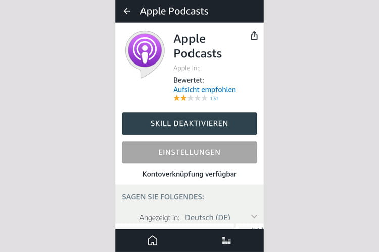 Auch die Apple Podcast Funktion haben wir probehalber aktiviert