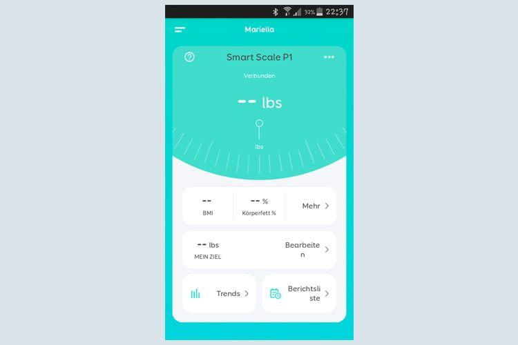Unser Beispielbild zeigt die App kurz vor dem ersten Wiegen