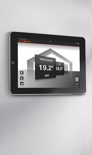 Abbildung der Viessmann Vitocomfort 200 iPad App