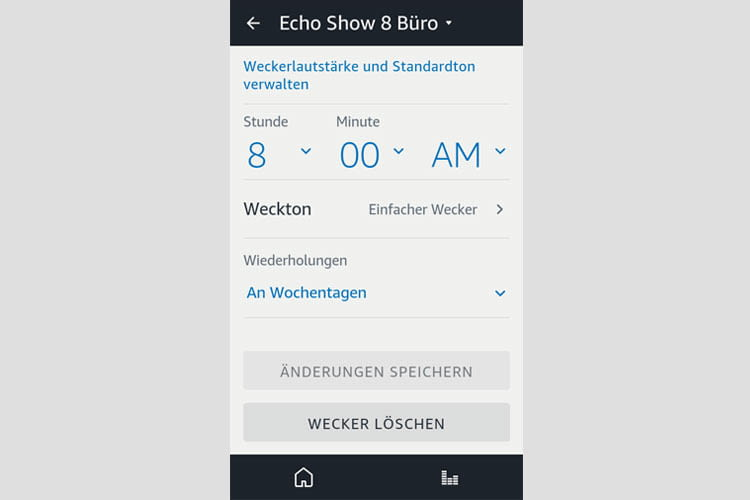 In der Alexa App lassen sich die Wecker für die ganze Woche bearbeiten oder löschen
