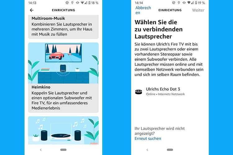 Im zweiten Schritt teilen wir in der Alexa App mit, das wir eine Heimkino-Gruppe mit dem Echo Dot 3 erstellen wollen