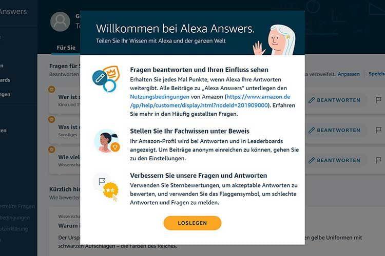 Zur Begrüßung gibt Alexa Answers einen kurzen Überblick darüber, was Teilnehmer erwartet
