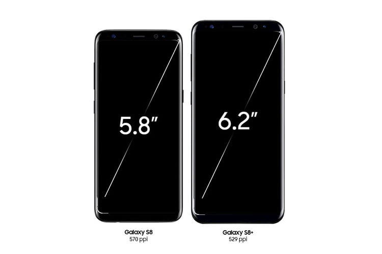 Samsung Galaxy S8 und Samsung Galaxy S8+ im Größenvergleich