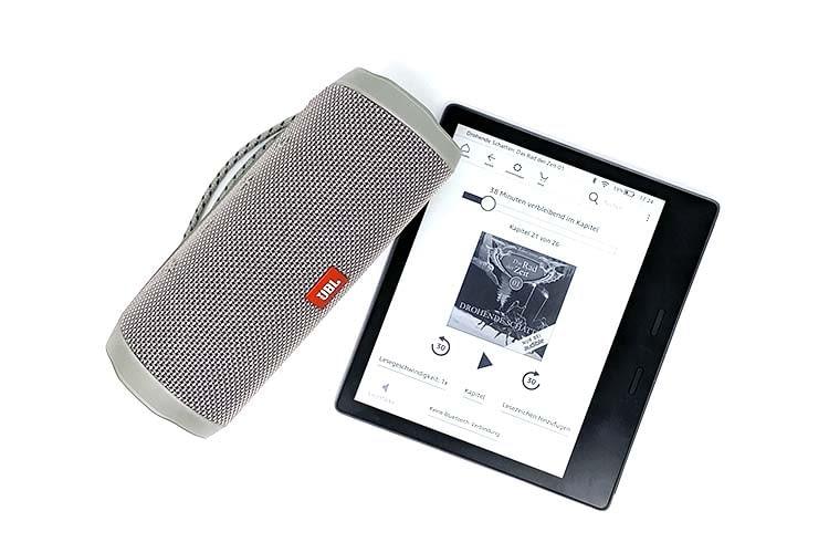 Audible Hörbücher lassen sich vom Amazon Kindle Oasis auf einen externen Bluetooth-Lautsprecher streamen
