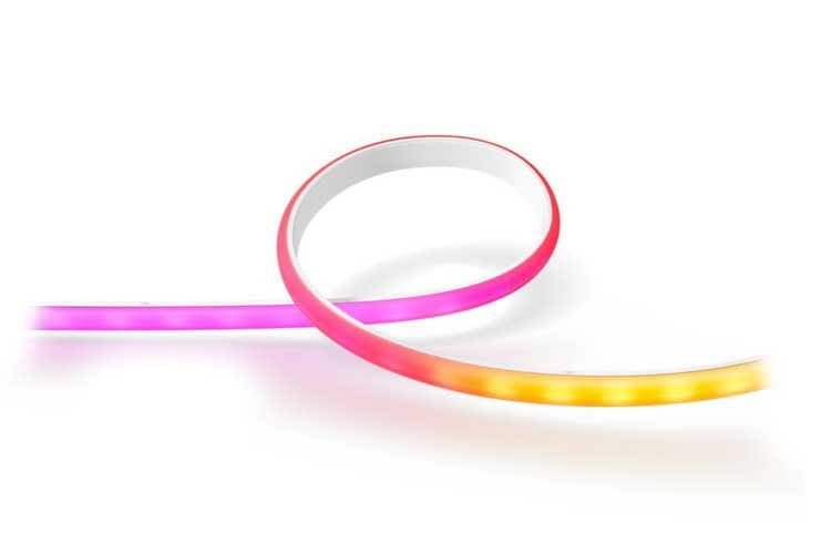 Das Besondere am Philips Hue Ambiance Gradient Lightstrip ist, dass er gleichzeitig mehrfarbig leuchten kann