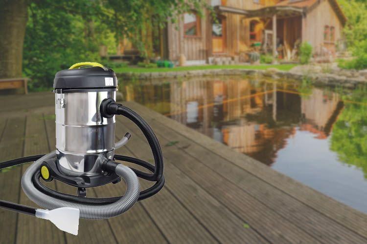 Der Edelstahl-Sauger von Syntrox kann vielfältig eingesetzt werden: auch zum Teichsaugen