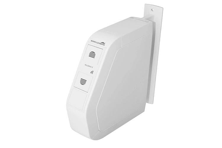 Der elektrische Funk-Aufputz-Gurtwickler Schellenberg ROLLODRIVE 75 Premium ist Magenta Smart Home kompatibel