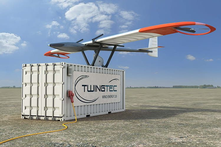 TwingTec TT100 - Das mobile fliegende Windkraftwerk, im Container befinden sich Winde und Generator
