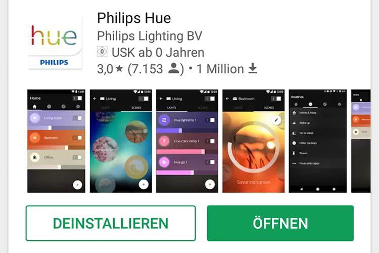 Die Philips Hue Smartphone-App im Google Play Store