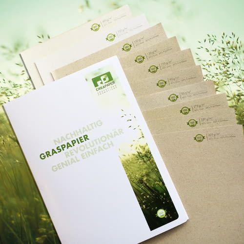 Papier aus Gras statt Zellstoff - in unterschiedlichen Stärken und Formen