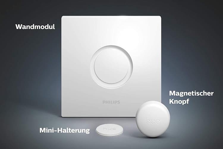 Der Philips Hue Smart Button Lieferumfang besteht aus drei Komponenten