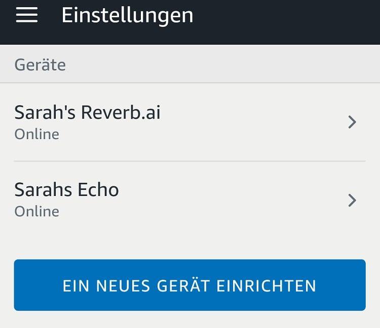 Die Alexa App sieht Reverb als ergänzendes Echo-Gerät an