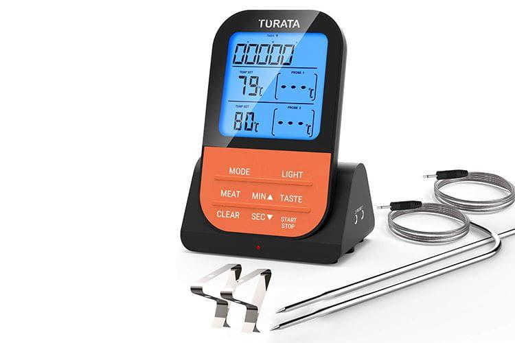 Das TURATA Funk-Fleischthermometer hat eine Basisstation und einen mobilen Empfänger