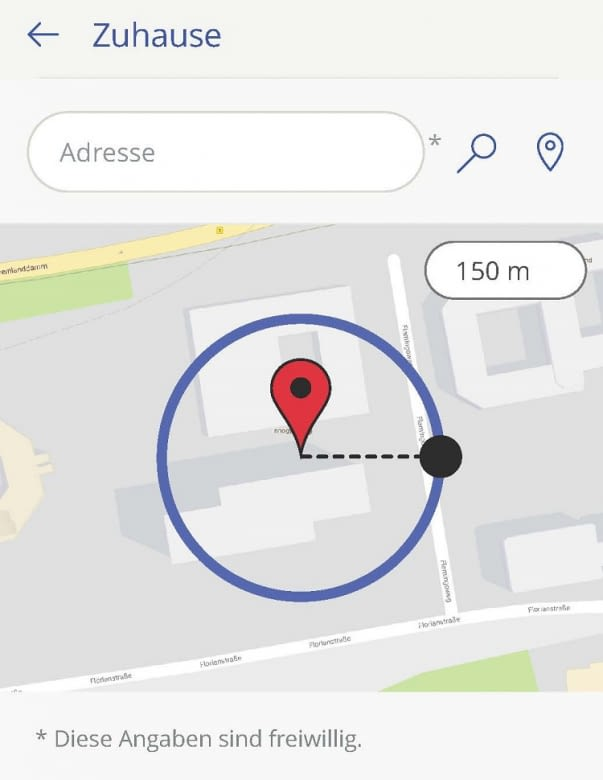 In der innogy SmartHome-App wird der Radius fürs GPS-Tracking festgelegt