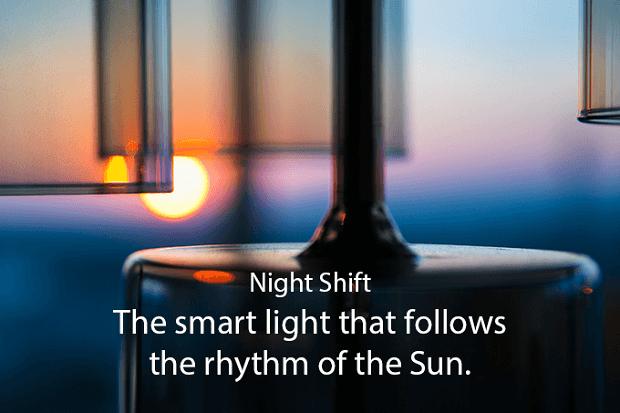 Helium smart light passt sich der Tageszeit an.
