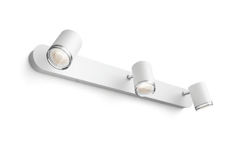 Der Adore 3er Spot ist mit Hue White Ambiance GU10 Leuchtmitteln ausgestattet