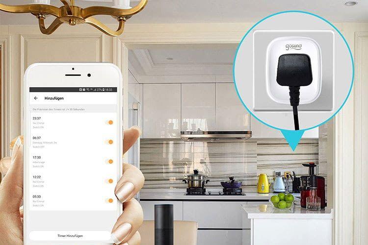Per App lässt sich die gosund SP1 WLAN-Steckdose von jedem Ort aus steuern