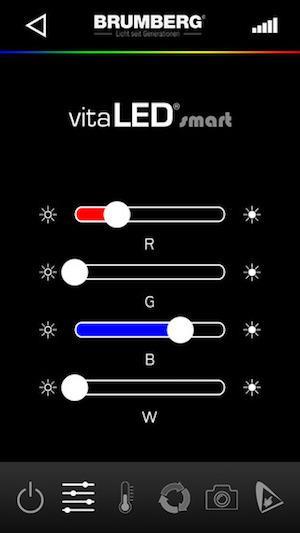 Abbildung vitaLED smart App von Brumberg für iOS und Android