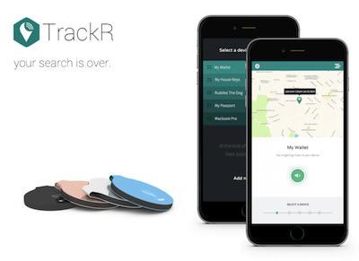 Abbildung des TrackR bravo und der App