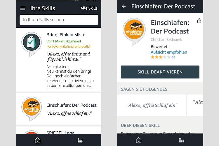 Links ist die Skill-Übersicht der App zu sehen, rechts ein einzeln ausgewählter Skill
