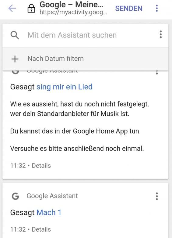 """My Activity klärt auf: Google Assistant versteht statt """"Noch eins"""" """"Mach 1"""" und dreht die Lautstärke herunter"""