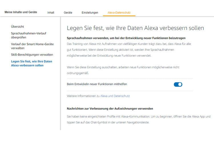 Wir empfehlen, die Alexa Trainingsfunktion von Amazon zu deaktivieren
