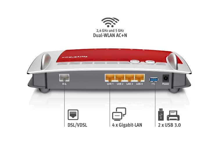 Übre die vier Gigabit-LAN Anschlüsse auf der Rückseite können Geräte wie ein Smart TV per Kabel mit dem Internet verbunden werden