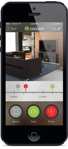 Cocoon App für das Smartphone. Steuermöglichkeiten des Sicherheitssystems