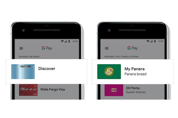 Die Google Pay Bezahlkartenübersicht in der Google Pay App